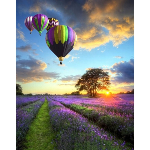 Ballonok Levendulamezőn   40x50 cm   DIY kerettel